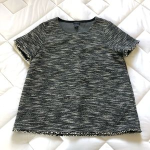Ann Taylor Black and White Textured Top